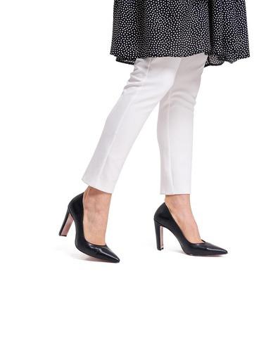 Mizalle Mızalle Kalın Topuklu Stiletto  Siyah